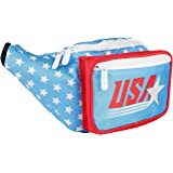 SoJourner Bags Fanny Pack - USA American Flag Stars and Stripes (Red, White, Blue) …