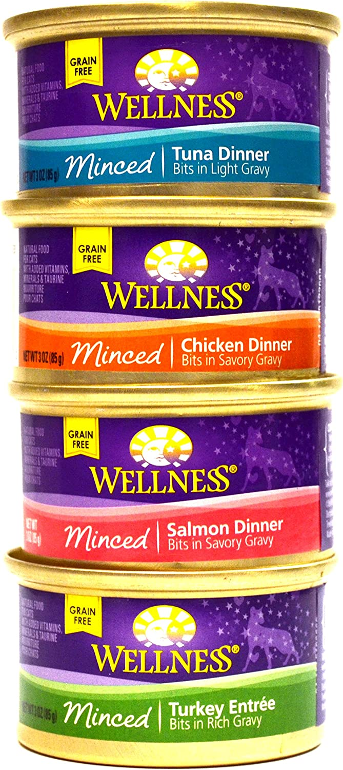 Wellness Minced Grain-Free Wet Cat Food Variety Pack - 4 Flavors (Salmon, Tuna, Turkey, and Chicken) - 12 (3 Ounce) Cans - 3 of Each Flavor