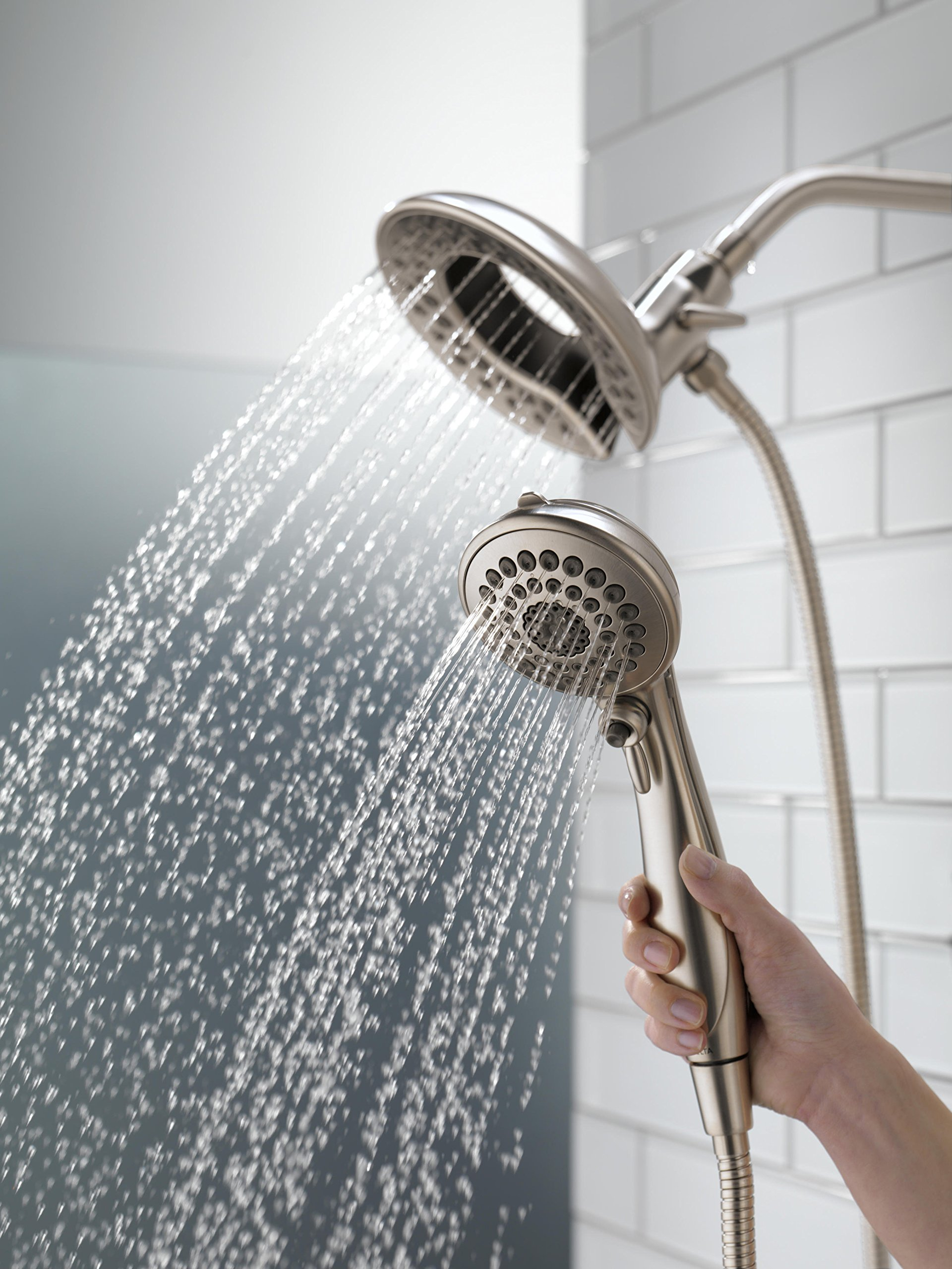 Delta 58569-SS-PK 5-Spray Touch Clean In2ition 2-in-1 Hand Held Shower Head with Hose, Stainless by DELTA FAUCET (Image #2)