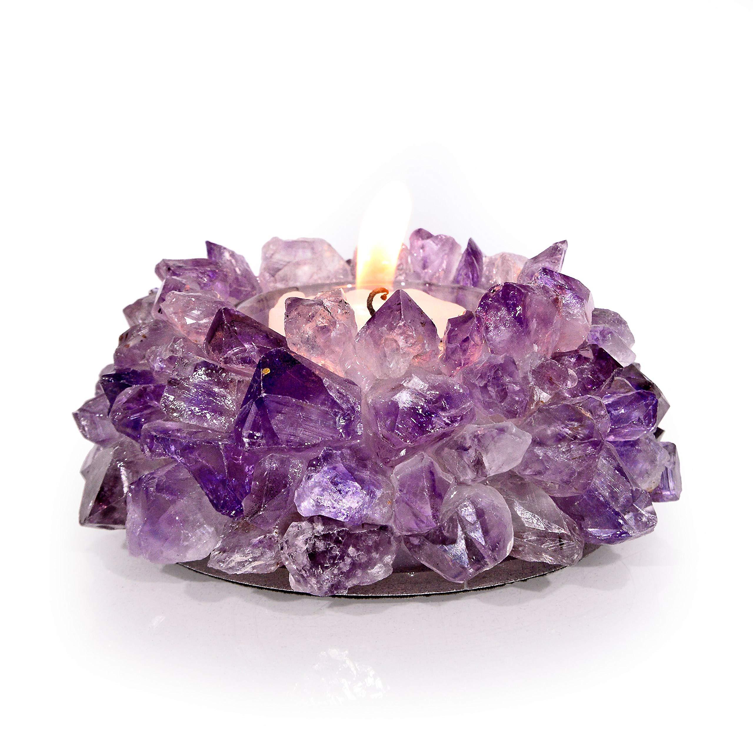 KALIFANO 5'' Natural Amethyst Candle Holder
