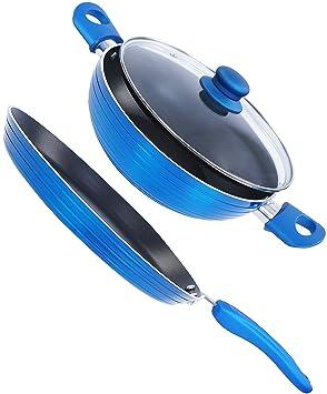 Nirlon Non-Stick Aluminium Cookware Set, 2-Pieces, Blue (Forged_FT28+KD22) Pot & Pan Sets at amazon