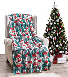 """Décor&More Festive Holiday Microplush Throw Blanket (50"""" x 60"""") - Christmas Pickup Truck"""