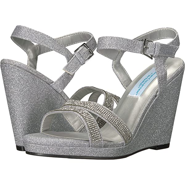 Silver Women/'s Size 8 M Touch Ups Holly Wedge Ankle Strap Sandals