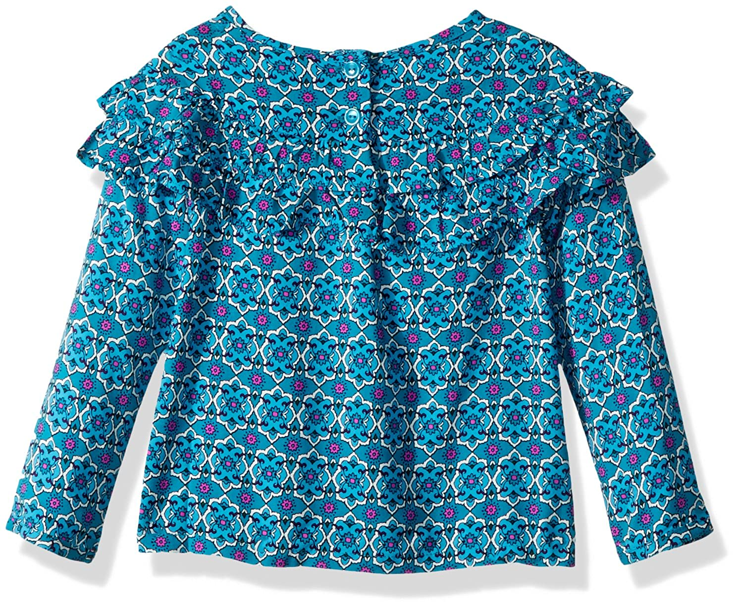 Crazy 8 Girls Toddler Long Sleeve Printed Woven Ruffle Top
