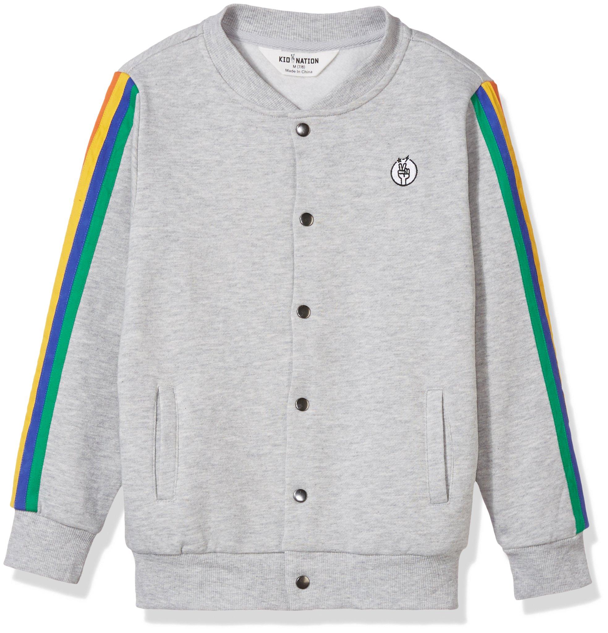 Kid Nation Kids' Fleece Track Jacket for Boys or Girls L Gray