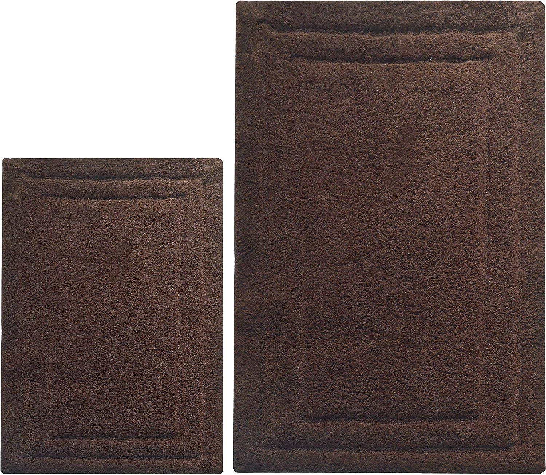 Chardin home Chardin Home - 100% Cotton Two Piece Classicc Bath Rug Set, (21''x34'' and 17''x24'') with Anti-Skid Spray Latex Back, Nutmeg Brown