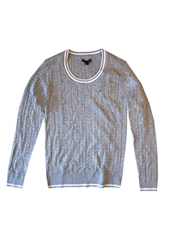 Tommy Hilfiger Womens Scoop Neck Cable Knit Sweater At Amazon