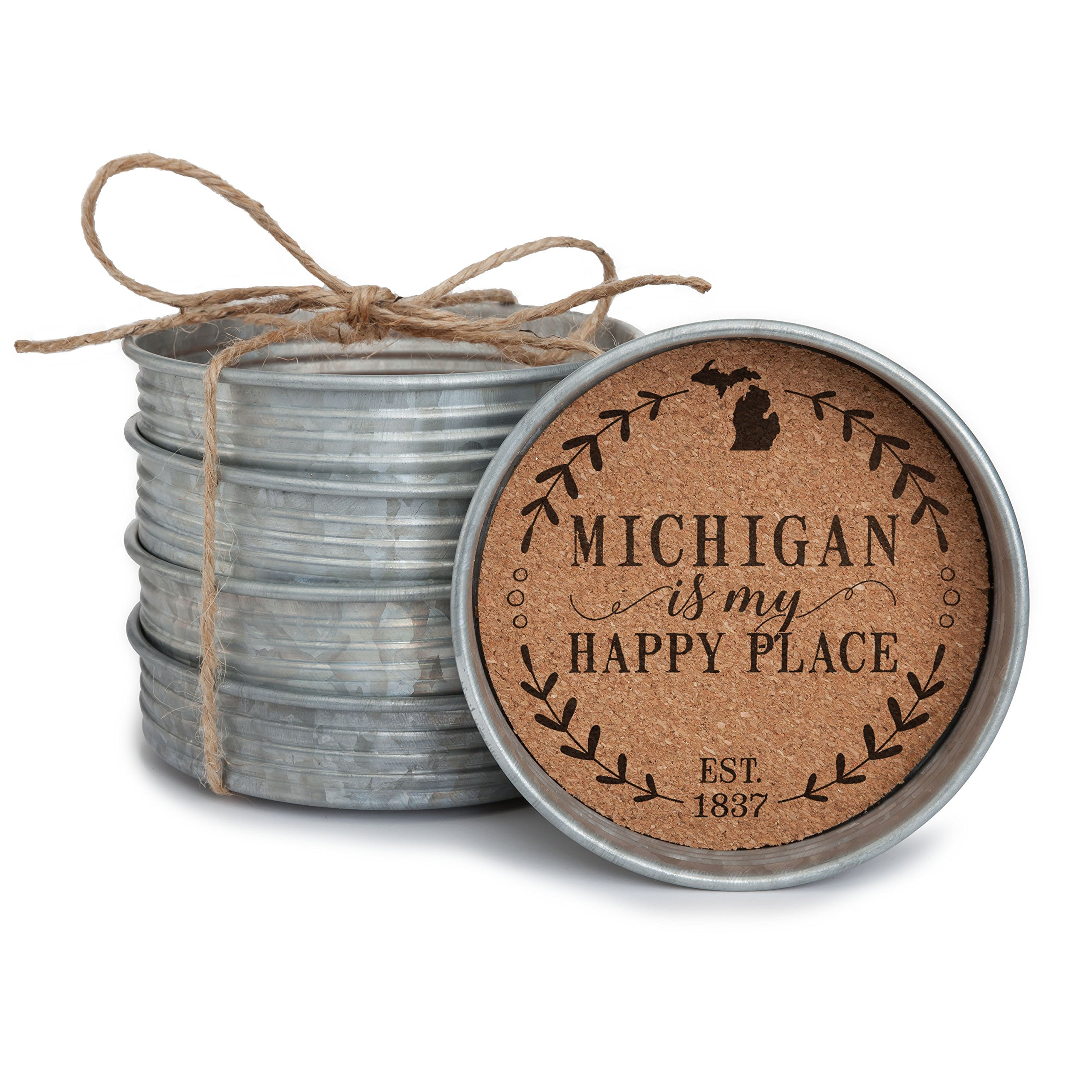 Occasionally Made 4'' x 4'' x 1'' Michigan Mason Jar Lid Coaster Stack