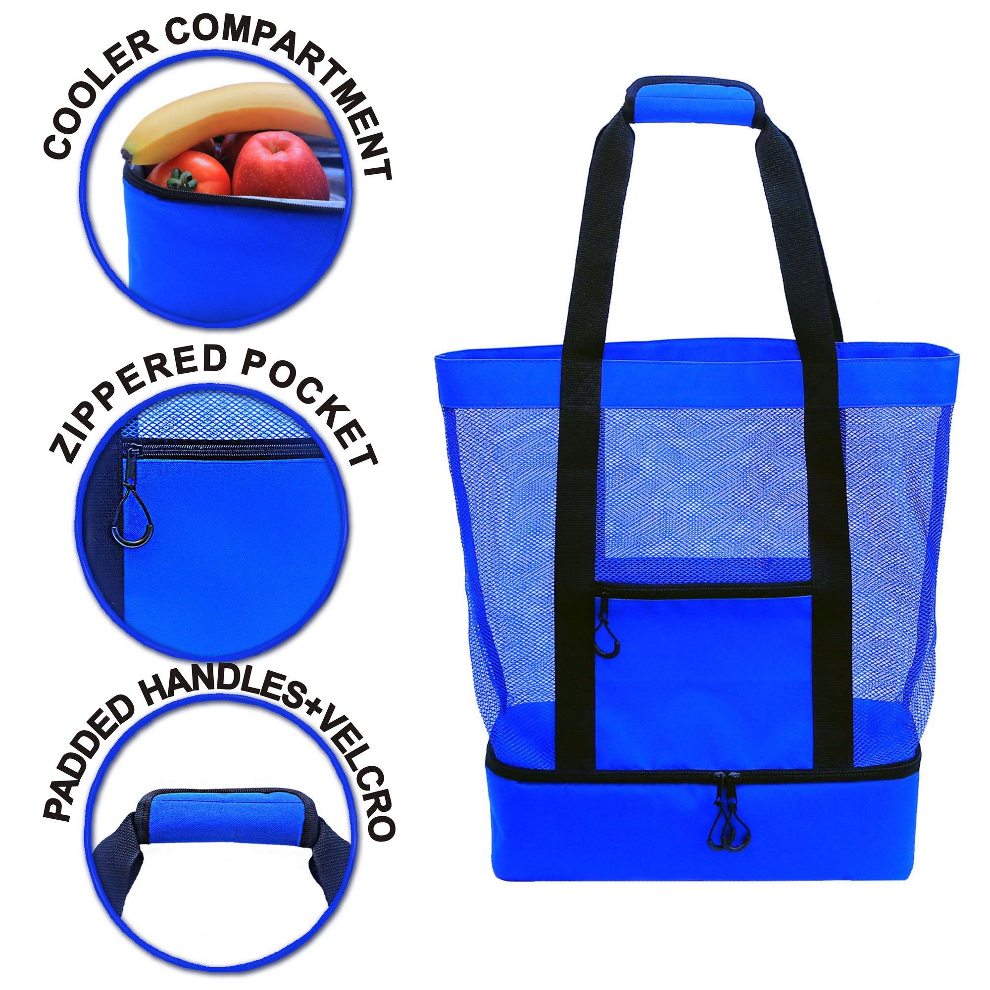 JU&JI's Beach Tote Bags – 2-in-1 Design – Mesh Bag & Built-in Picnic Cooler Compartment – Big or Extra Large Cooler Beach Bags – Padded Handle, Waterproof Zipper & Heavy-Duty Build by Ju&Ji (Image #3)