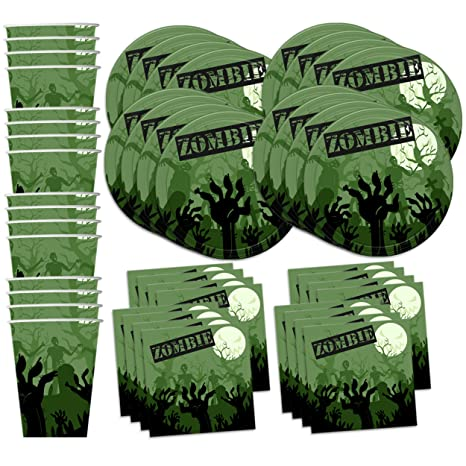 Amazoncom Zombie Birthday Party Supplies Set Plates Napkins Cups