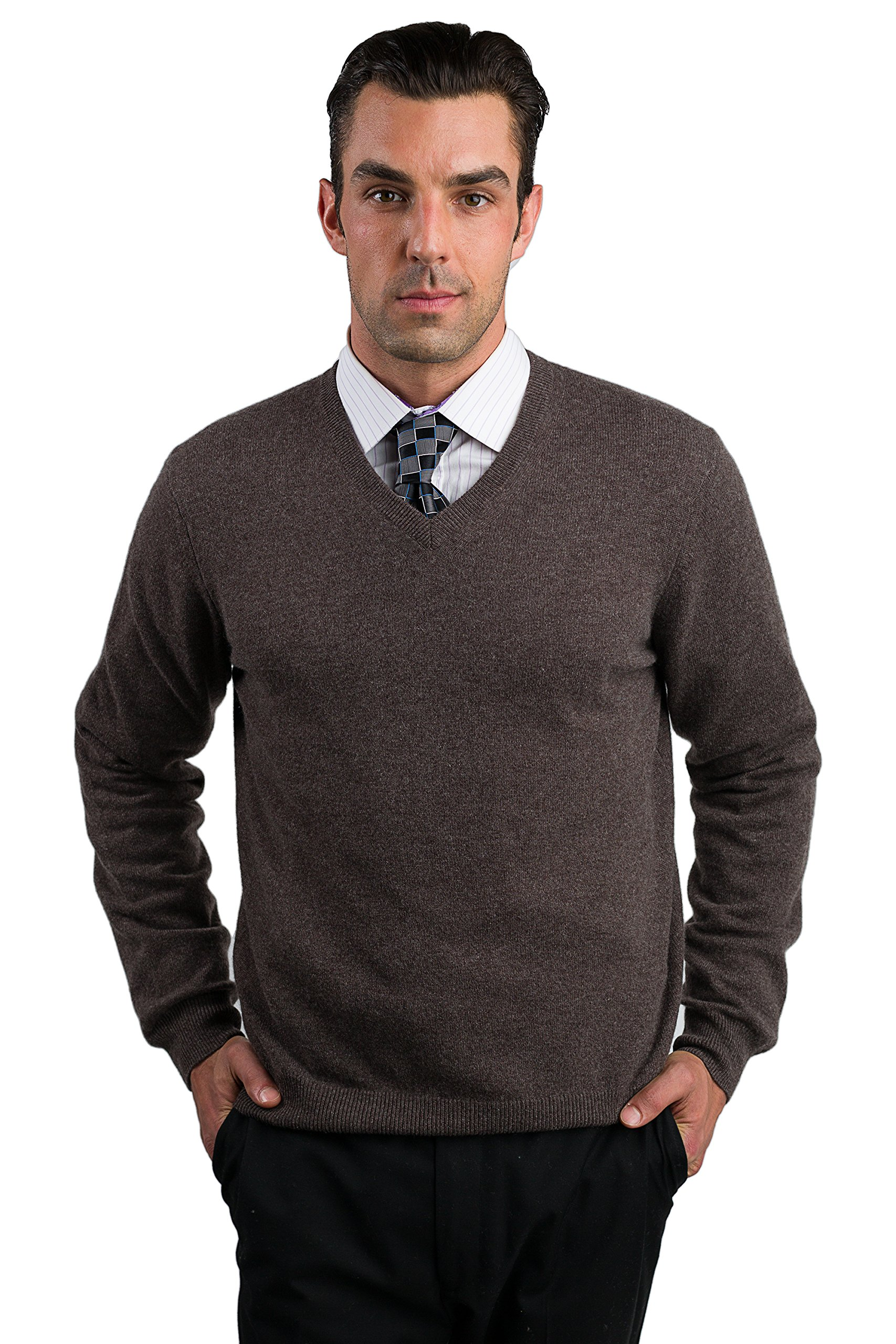 JENNIE LIU Men's 100% Cashmere Long Sleeve V Neck Sweater (Medium, Brown)