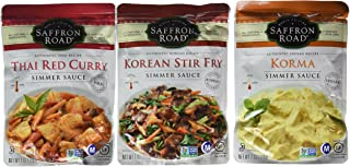 product image for Saffron Road Authentic Recipe Simmer Sauce 3 Flavor Variety Bundle: (1) Thai Red Curry, (1) Korma, and (1) Korean Stir Fry Simmer Sauce, 7 Oz. Ea. (3 Pouches Total)