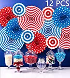 Fourth of July Patriotic Decorations - Red White Blue Hanging Paper Fans - 4th of July Party Favors