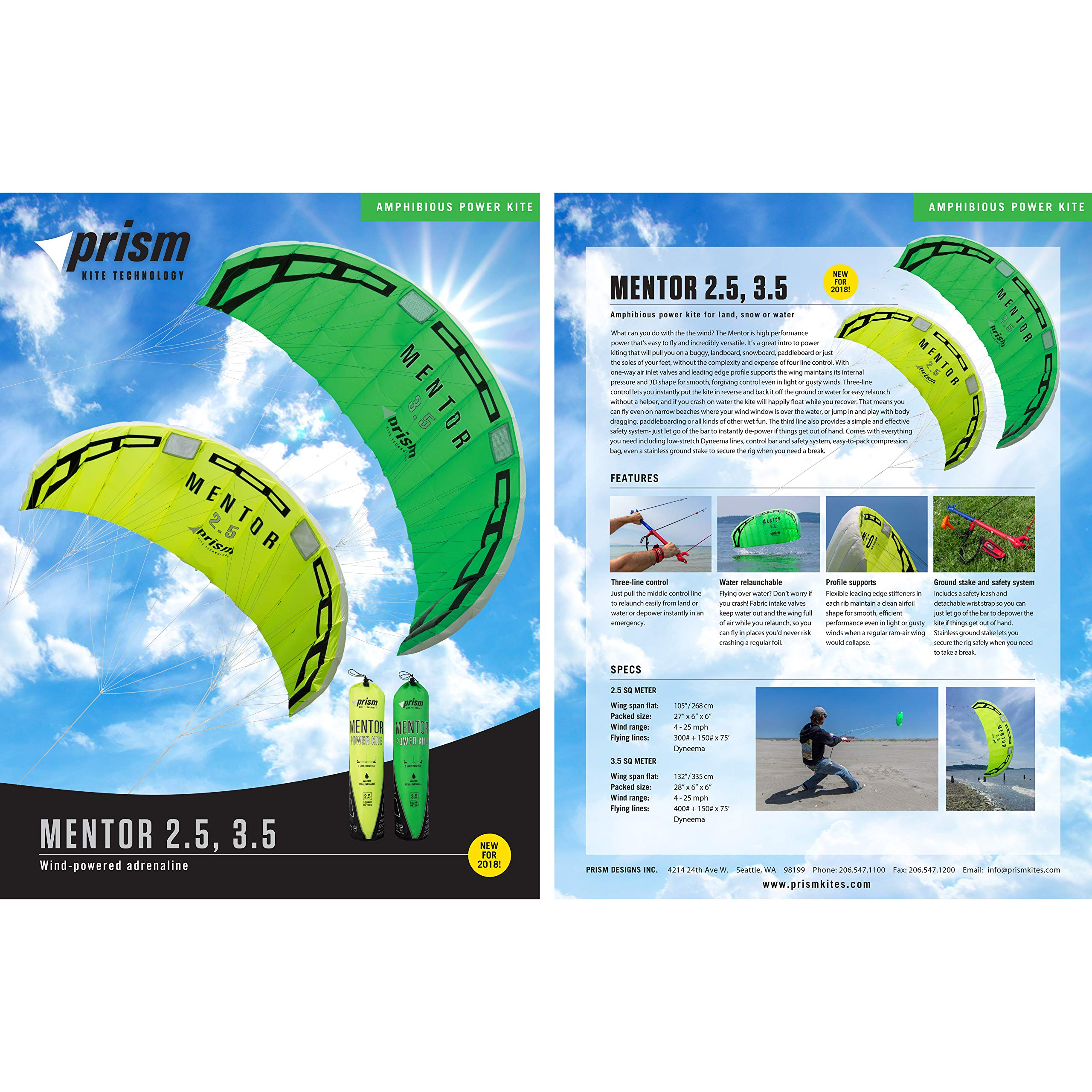 Prism Mentor 2.5m Water-relaunchable Three-line Power Kite Ready to Fly with Control bar, Ground Stake and Quick Release Safety Leash by Prism Kite Technology (Image #6)
