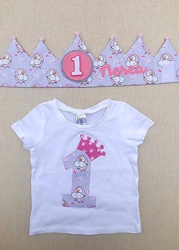 Corona y camiseta personalizada para cumpleaños: Amazon.es ...
