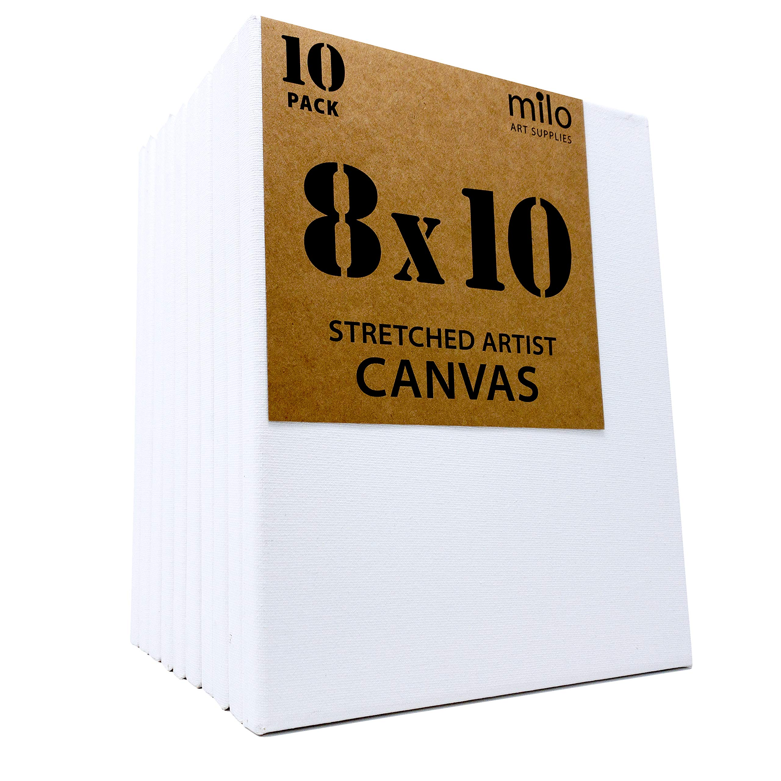 MILO | 8 x 10'' Pre Stretched Artist Canvas Value Pack of 10 | Primed Cotton Art Canvas Set for Painting | Ready to Paint Art Supplies | 10 White Blank Canvases by milo