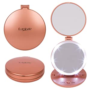 iLuminate Folding Travel Makeup Mirror, Magnifying Mirror with 1X plus 5X Magnification