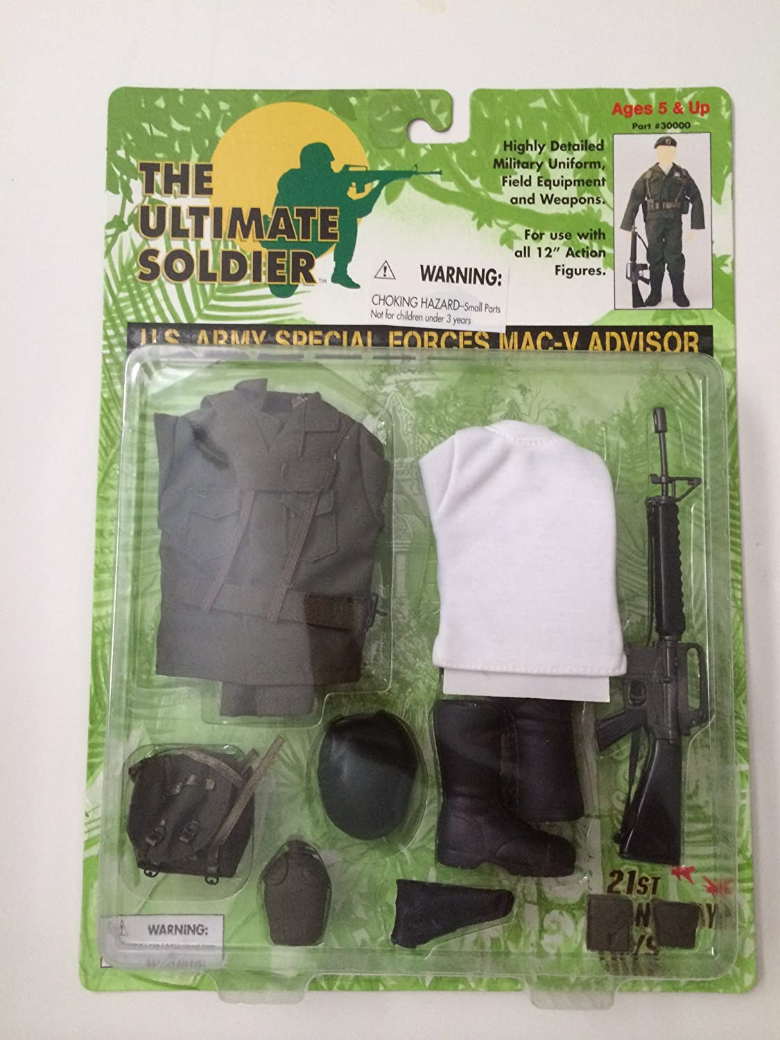 Ultisol 1997 - The Ultimate Soldier - U.S. ARMY SPECIAL FORCES MAC-V ADVISOR - Outfit / Waffen Zubehörset (olives Shirt) für 12 inch/30cm Figuren - OVP