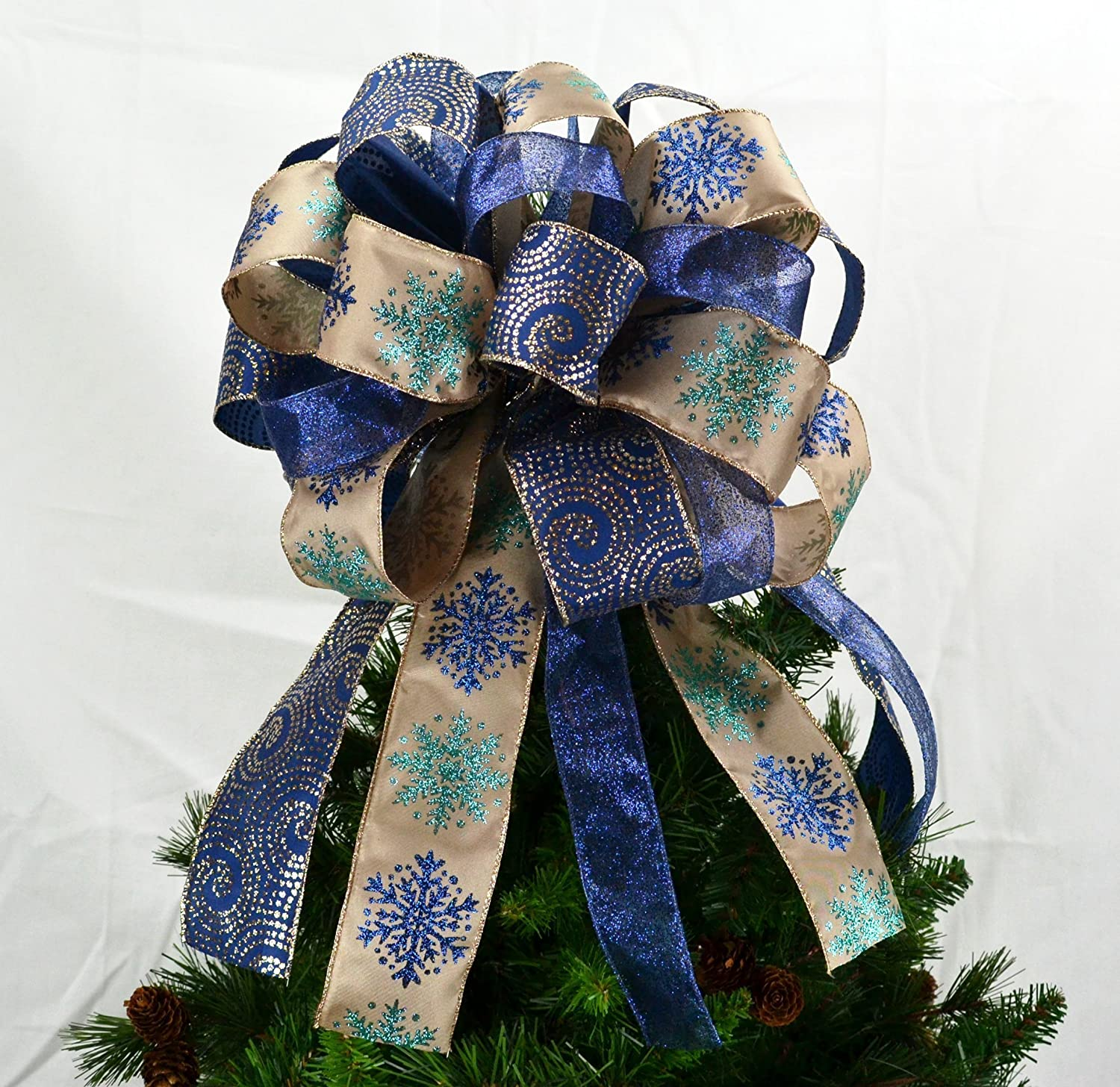 Christmas Tree Topper Bow   Present Bow  Tree Bow   Navy Blue, Gold, Bronze