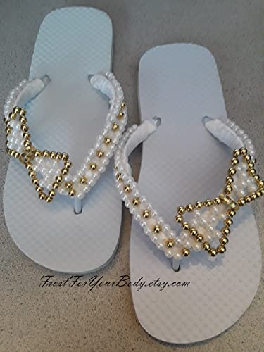 Amazon.com  Women and Girls YOUTH Beaded BOW Flip Flops - A Variety of Bead  Colors and Shoe Colors also Available - FREE SHIPPING  Handmade d8814acb484e
