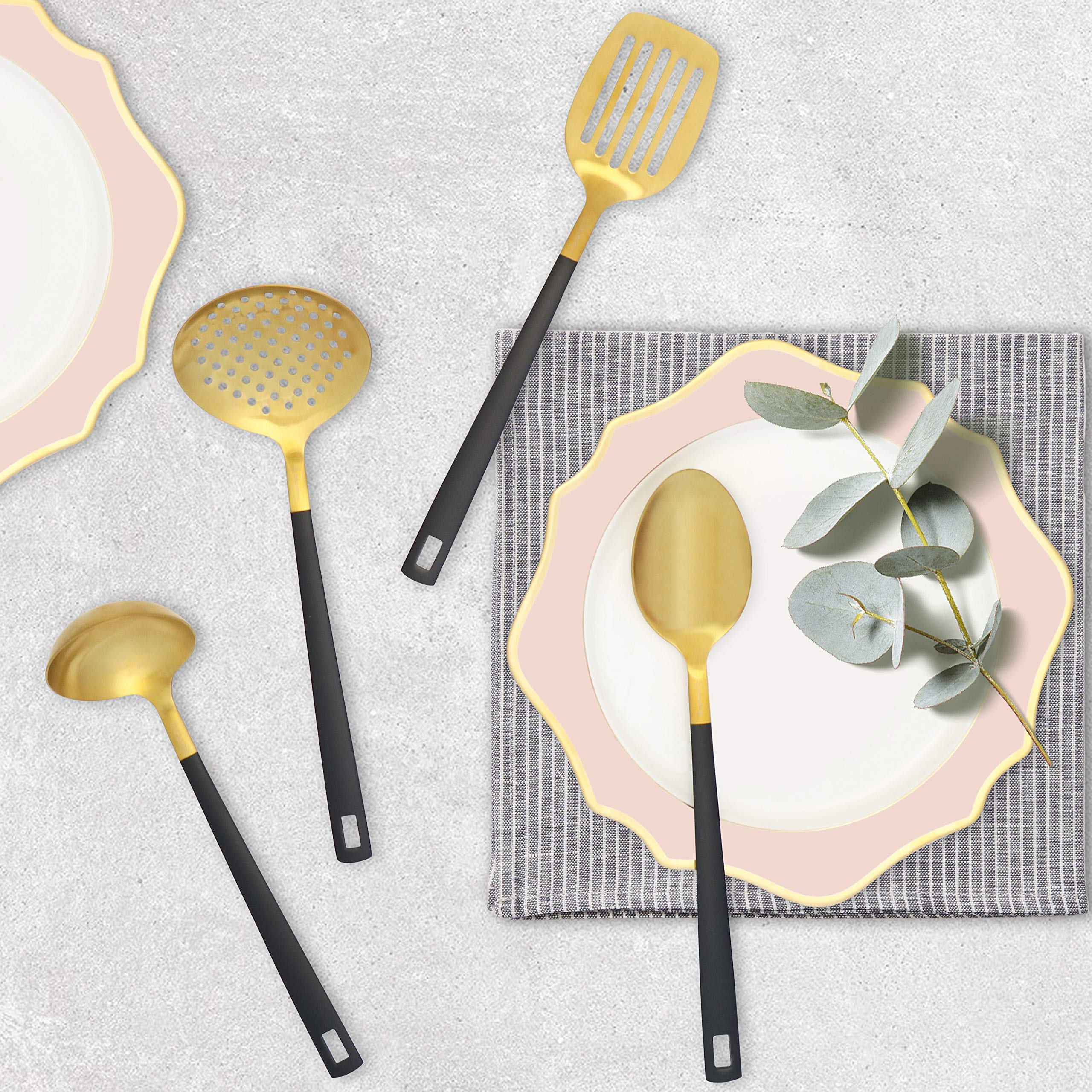 Black and Gold Utensil Set for Cooking and Serving, Stainless Steel Serving Utensils include - Black and Gold Metal Ladle, Skimmer, Serving Spoon, Turner: Gold Serving Sets by STYLED SETTINGS (Image #2)