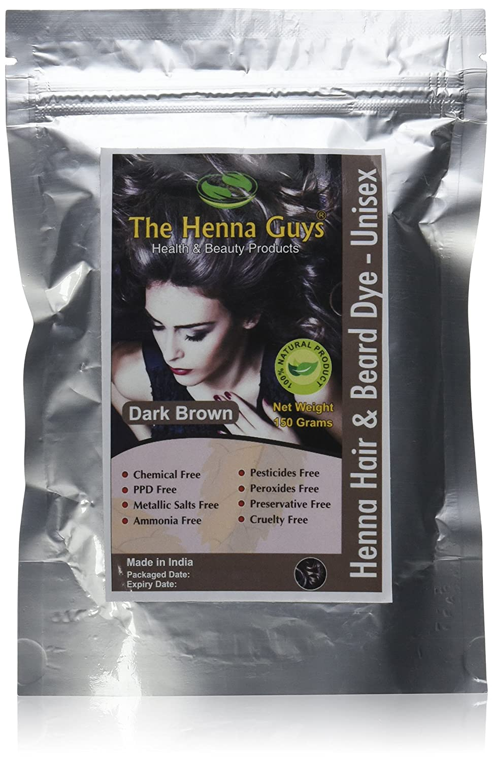571b02b8d Amazon.com : 1 Pack of Dark Brown Henna Hair Color/Dye - 150 Grams -  Chemicals Free Hair Color - The Henna Guys : Beauty