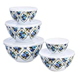 Amazon Basics 10-Piece Mixing Bowl Set with Lids - Non-Slip Base, Blue Rose Floral