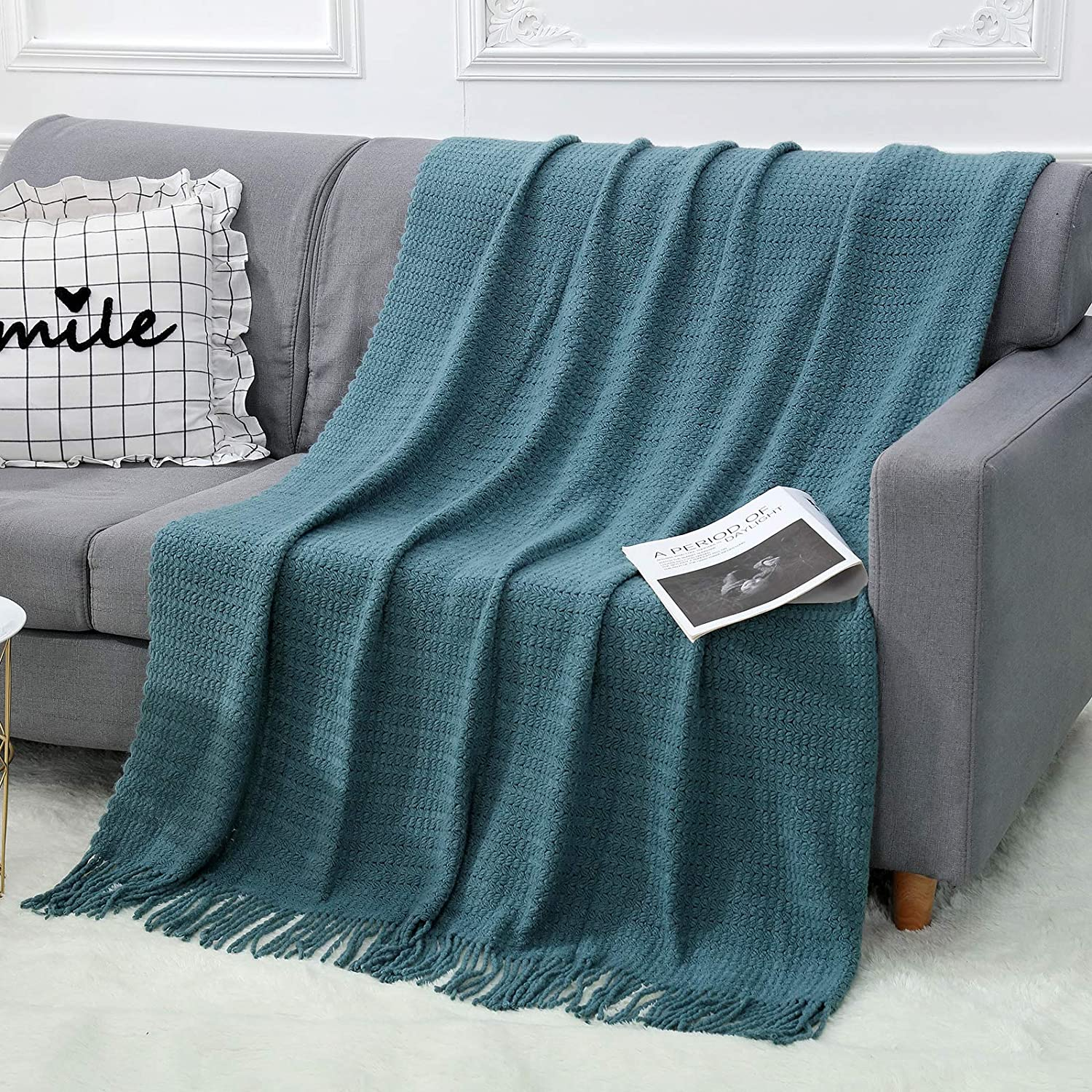 """WGCC Knit Throw Blanket for Couch, 50×60"""" 100% Acrylic Super Soft Bed Throw Blanket with Tassels, 1.4lb Warm Cozy Fluffy Knitted Woven Blanket for Couch Bed Sofa Home Travel - All Seasons (Teal)"""