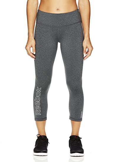 16e6dfb6d84a Reebok Women s Printed Capri Leggings with Mid-Rise Waist Cropped  Performance Compression Tights - Charcoal