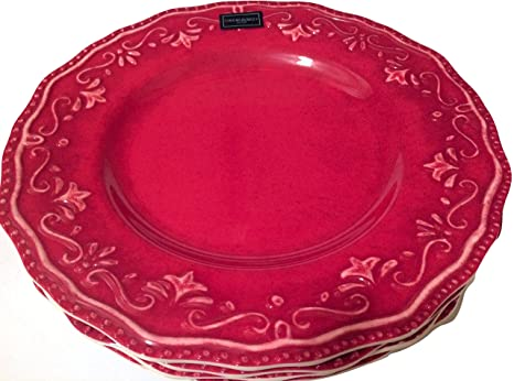 Cynthia Rowley Distressed Red Scroll Melamine Plates Set of Four (Dinner)  sc 1 st  Amazon.com & Amazon.com | Cynthia Rowley Distressed Red Scroll Melamine Plates ...