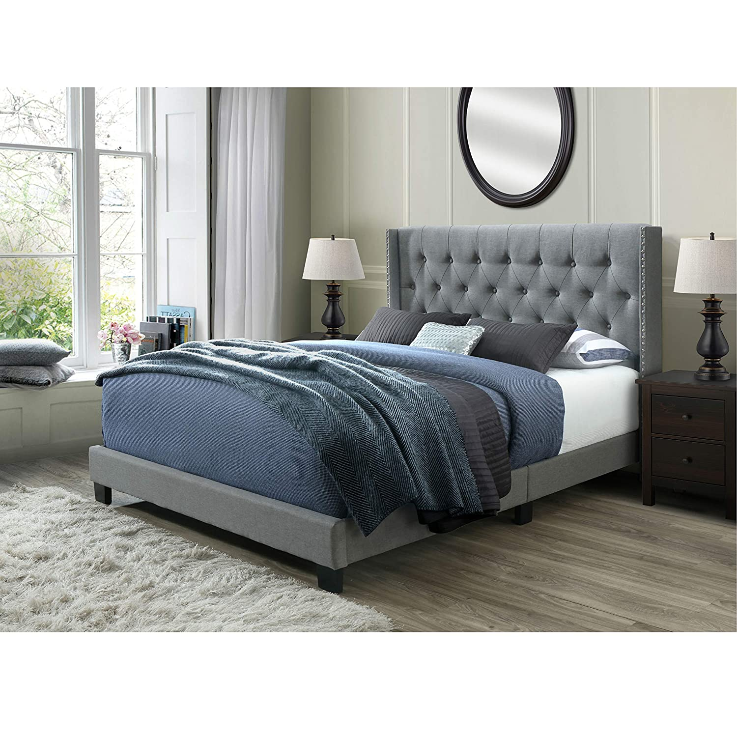 DG Casa Bardy Diamond Tufted Upholstered Wingback Panel Bed Frame, Queen Size in Gray Fabric