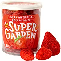 Super Garden frystorkade hela jordgubbar - Hälsosamt snacks - 100% ren och naturlig - Veganvänligt - Inget tillsatt…