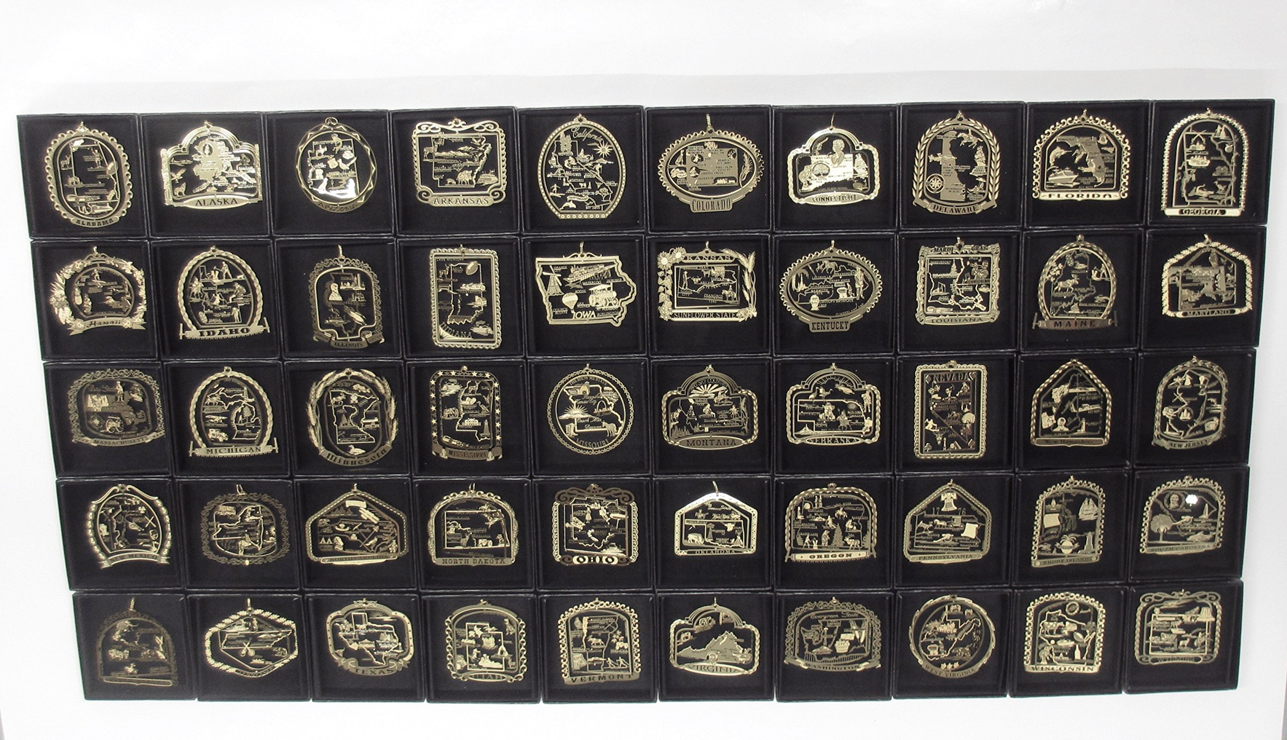 50 USA Ornaments State Landmarks Brass Christmas Black Leatherette Gift Box by I Love My State