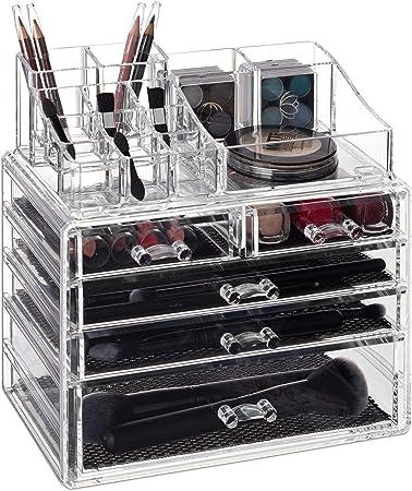 Relaxdays Organizador para Maquillaje, Cinco cajones, Caja de almacenaje para Brochas & Pintalabios, Transparente: Amazon.es: Hogar