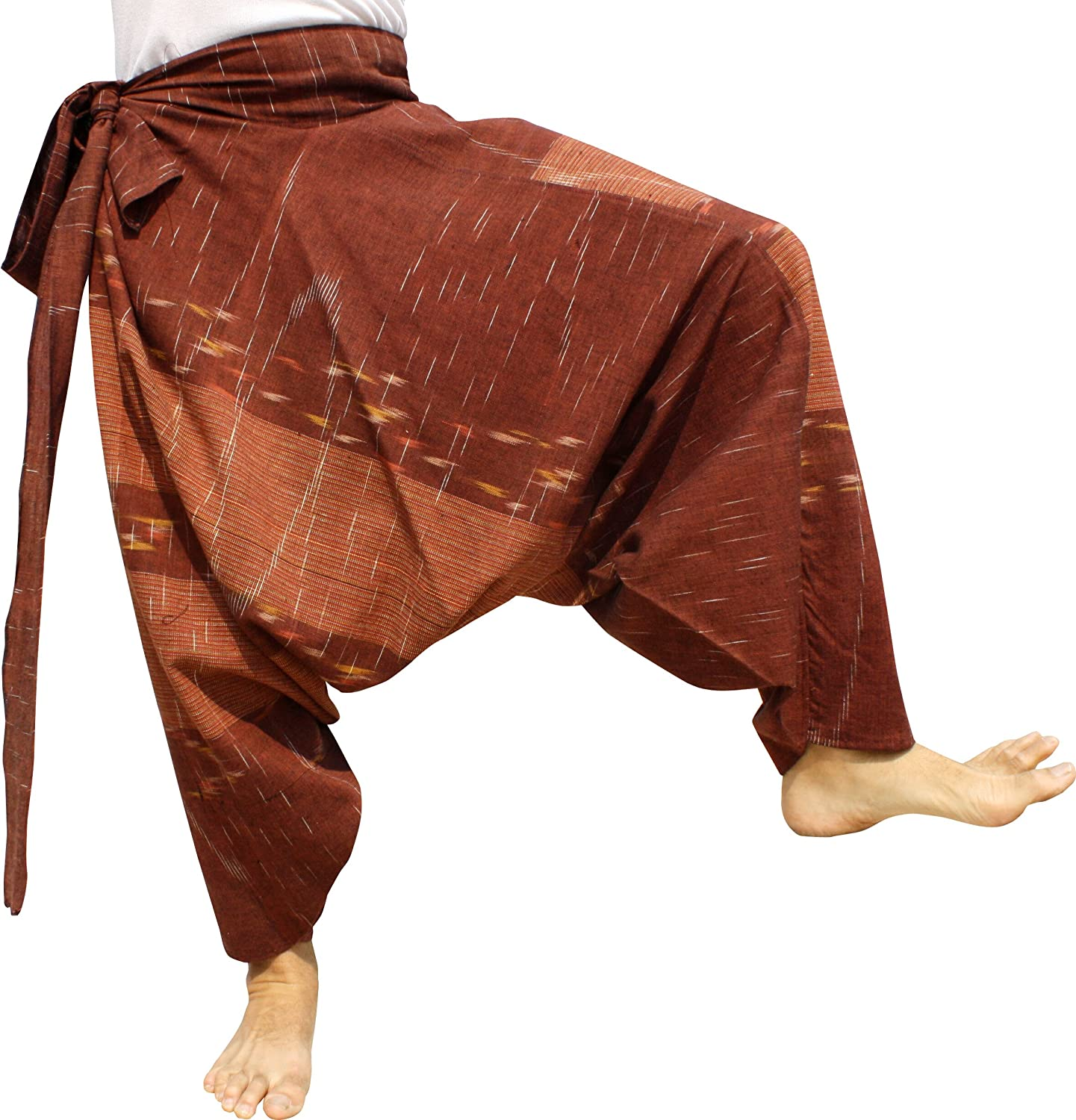 Chomtong Cotton  Bole Brown Raan Pah Muang Mixed Cotton Mao Hill Tribe Pants Side Tie