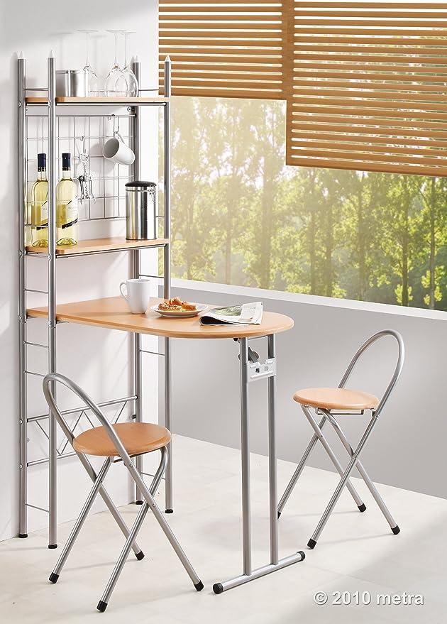 Kesper Küchentisch mit Regal und 2 Stühlen, klappbar, Holz: Amazon ...