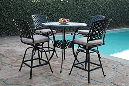 Kawaii Collections Outdoor Patio 5 Piece Cast Aluminum 42u0026quot; Bar Table  Set With 4 Swivel