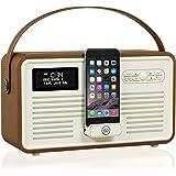 Radio numérique VQ Retro Mk II DAB & DAB+ avec FM, Bluetooth, dock Lightning Apple et réveil - marron