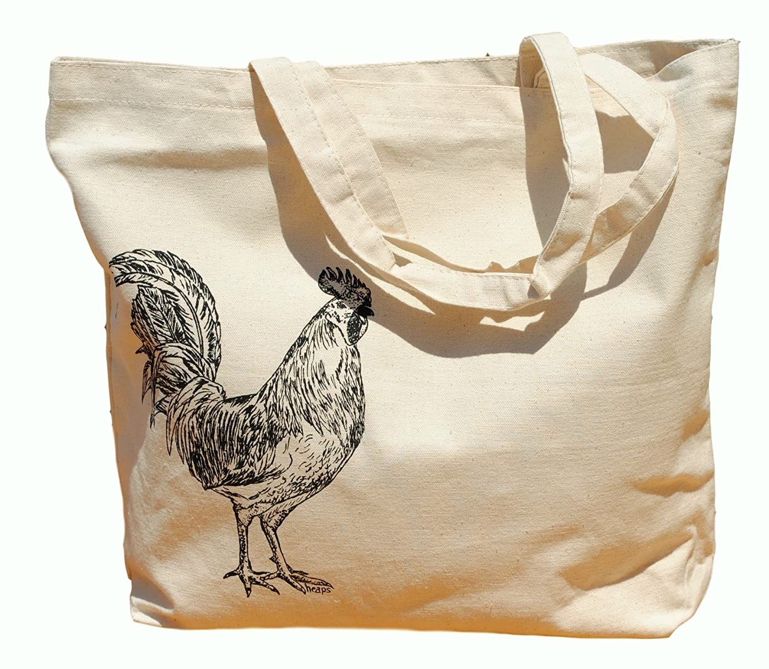 Canvas Tote Bag - Hand Printed Rooster - Market Travel Beach Shopper Grocery School