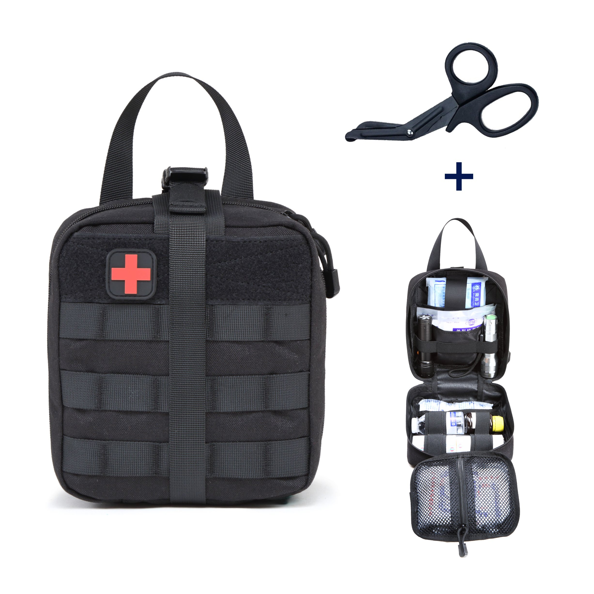 Tactical MOLLE Medical Pouch EMT First Aid Utility Pouch with Shear 1000D Nylon