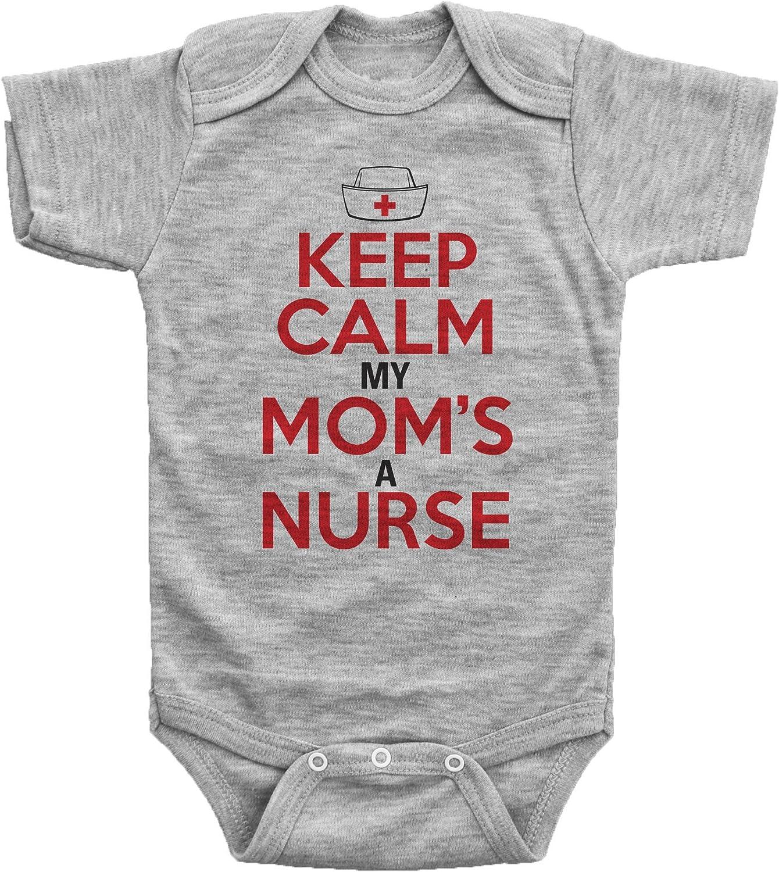 Tstars Keep Calm My Mom is A Nurse Baby Boy Girl Funny Bodysuit Onesie