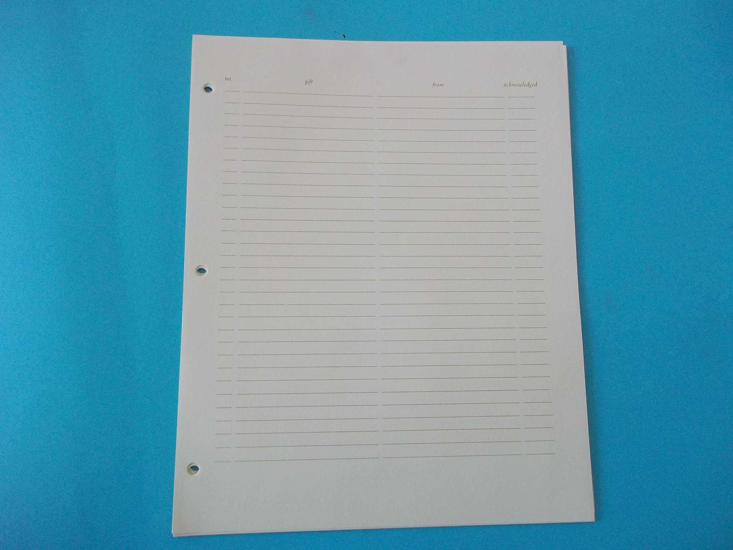 CR Gidson ZB300 Two Column Ruled Registry Guest Page Ivory 8 1/2'' x 11'' Set of 10 Sheets Per Package