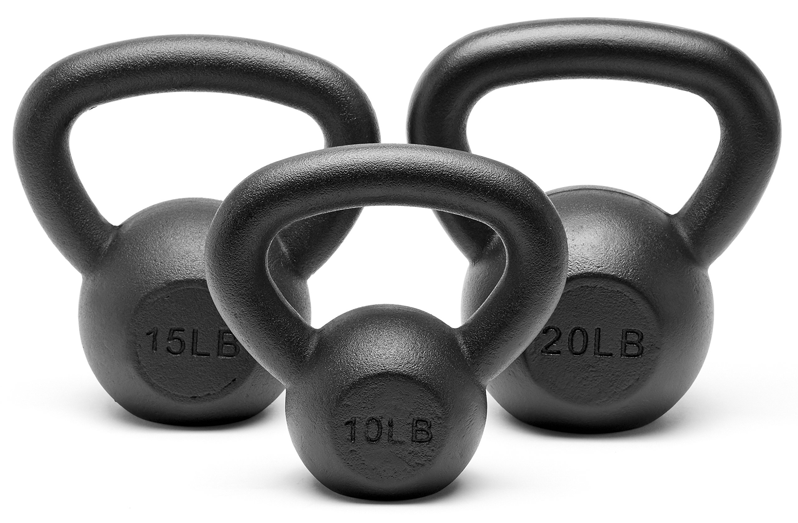 Unipack Powder Coated Solid Cast Iron Kettlebell Weights Set- (10+15+20 lbs)