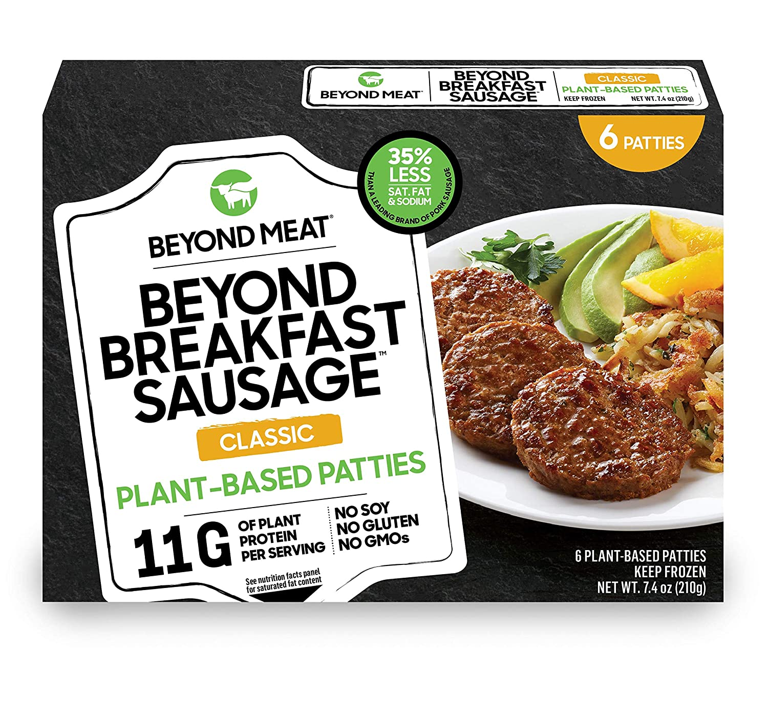 BEYOND MEAT Breakfast Sausage Patties, Plant-Based Meat Alternative, Heat and Eat- Frozen, 7.4 oz. Box, Classic Flavor