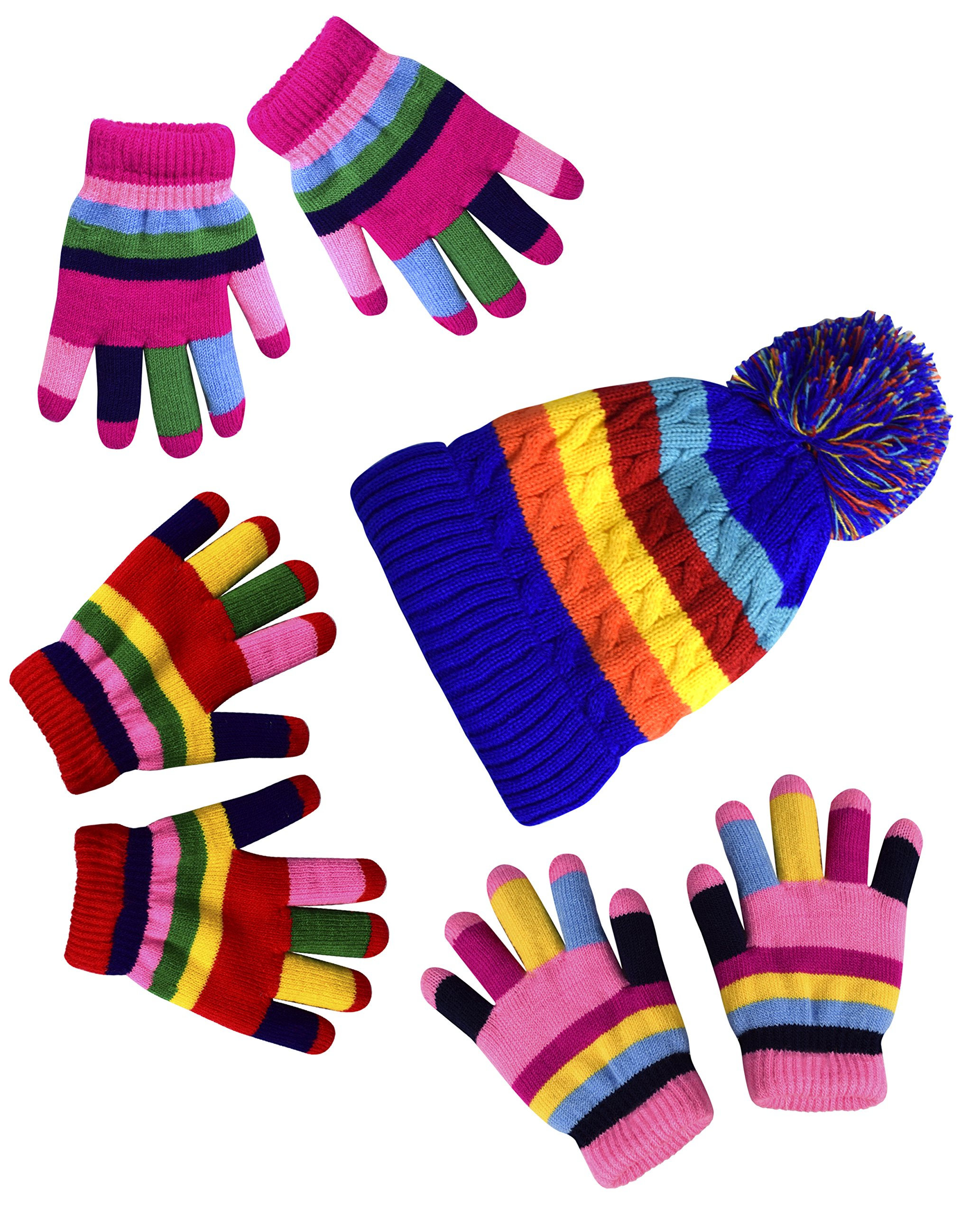 Peach Couture Children's Toddler Warm Double Layered Winter Gloves and Mittens Value packs (One Size, Rainbow Pink Set Toddlers (2 to 4 Years))