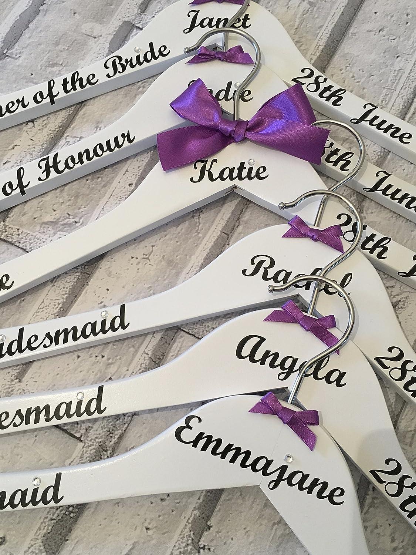 Wedding Hangers Personalized, Brides Hanger, Bridesmaids Hangers, Bride To Be Hanger, Bridal Party Hangers Set of 8