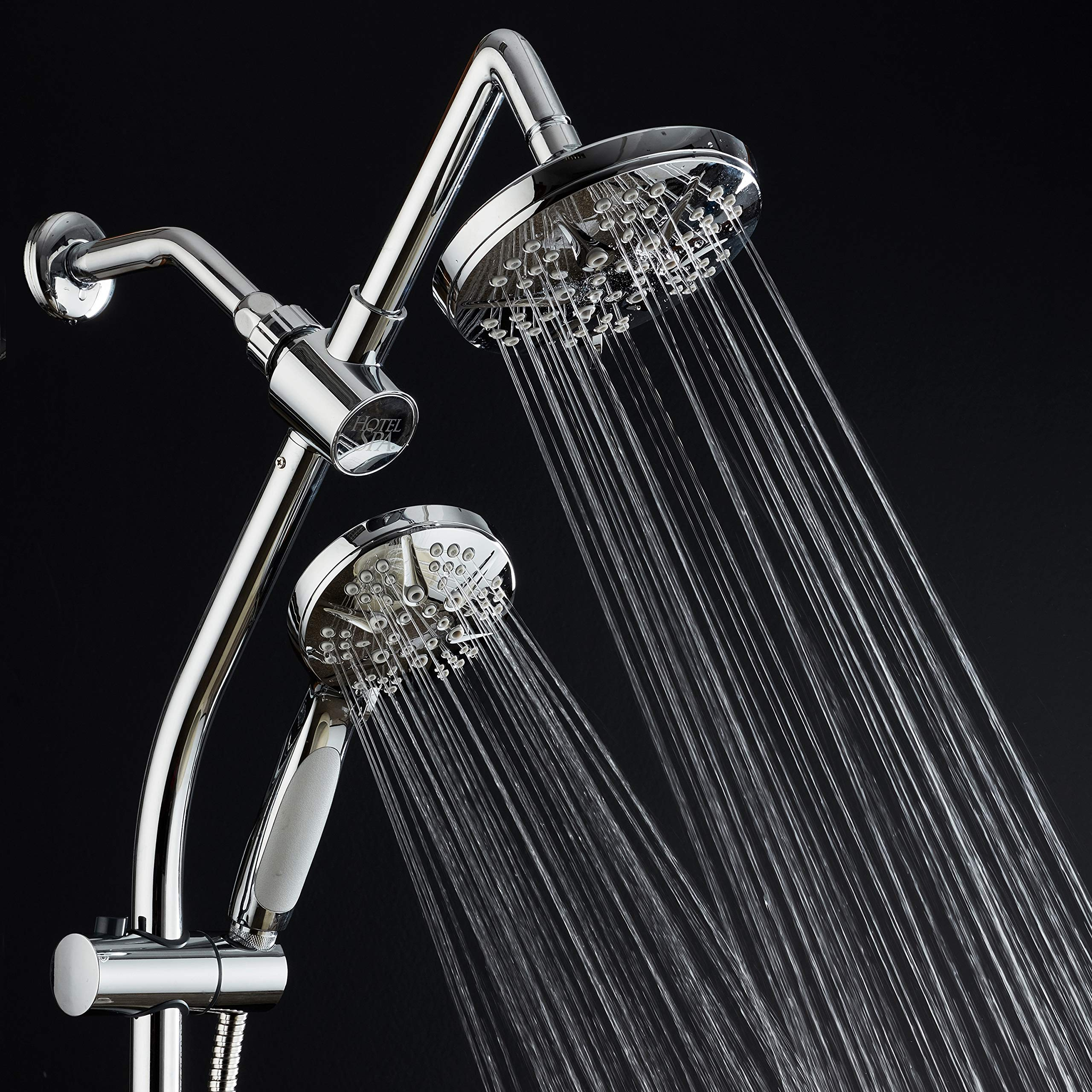 Spa Station 34'' Adjustable Drill-Free Slide Bar with 48-setting Showerhead Combo & Height Extension Arm / 3-way Rain & Handheld Shower Head/Low Reach Diverter/Stainless Steel Hose/Chrome by Hotel Spa (Image #6)