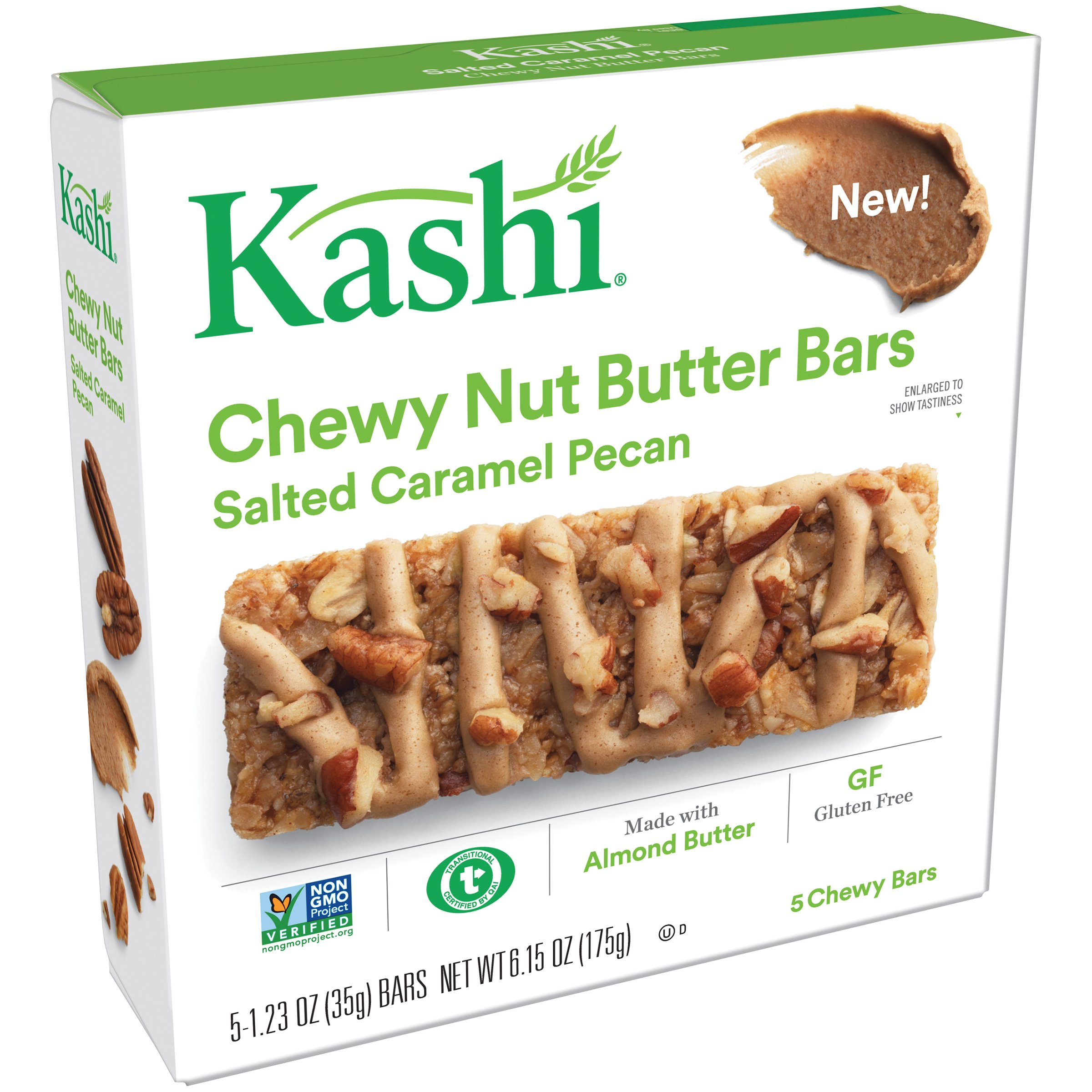 Kashi, Chewy Nut Butter Bars, Salted Caramel Pecan, Gluten Free, Non-GMO Project Verified, 6.15 oz (5 Count)(Pack of 8)