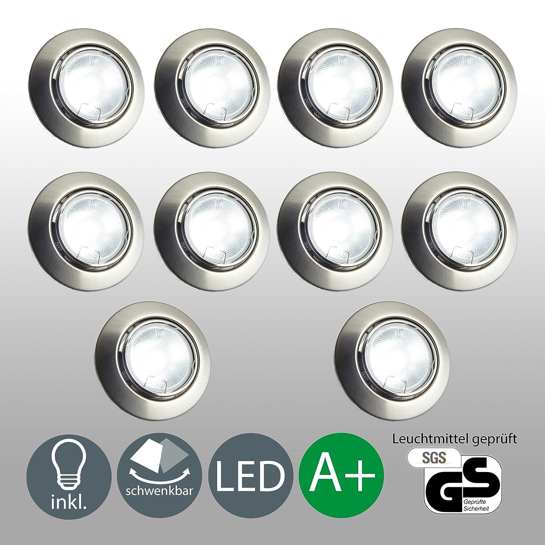 Led einbaustrahler schwenkbar inkl 10 x 5w leuchtmittel 230v gu10 ip23 led einbauleuchte deckenspot decken