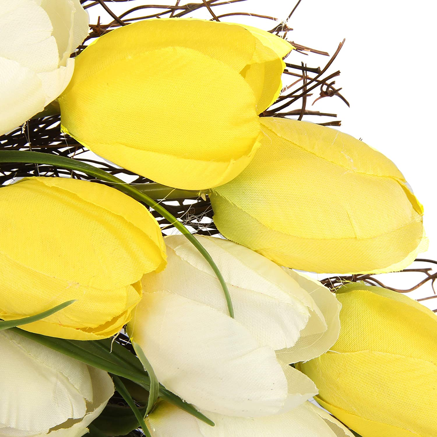 Jusdreen 20 Inch Yellow and White Tulip Spring Artificial Front Door Wreath Home D/écor for Window Wall Party Wedding Valentines Day Hanging Decorations